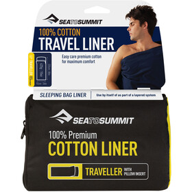 Sea to Summit Premium Cotton Saco Liner de Viaje Para Viajes con Funda para Almohada, green